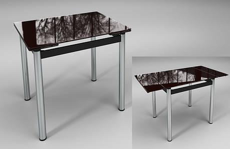 Стол Ритм коричневый стеклянный раскладной, фото 2