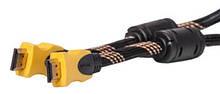 Видео кабель PowerPlant HDMI - HDMI, 5м, позолоченные коннекторы, 1.3V, Nylon, Double ferrites
