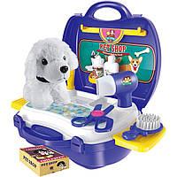 """Игровой наборс собачкой - Салон для животных """"Парикмахер"""" в чемодане, собачка 12см, аксессуары, 8357"""