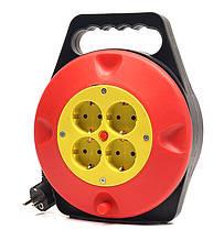 Подовжувач на котушці PowerPlant 10 м, 3x1.5мм2, 10А, 4 розетки (JY-2002/10)