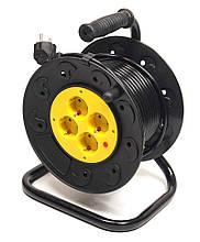 Подовжувач на котушці PowerPlant 15 м, 3x1.5мм2, 10А, 4 розетки (JY-2002/15)