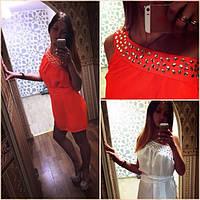 Платье короткое шифоновое на одно плечо-камни,цвет любой(р 42-58)