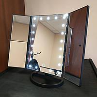 Зеркало для макияжа с LED подсветкой Superstar Magnifying Mirror 22 черное