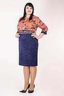 Цветочное женское демисезонное платье больших размеров 54,56,58,60
