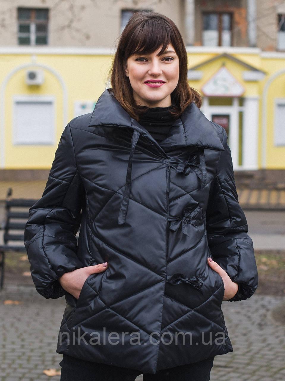 Женская демисезонная куртка-одеяло с завязками  рр 54-66