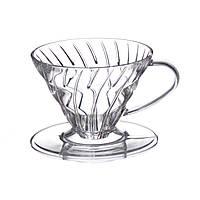 Пуровер Hario coffee drip VD-03T V60 1/6 чашок (пластик)