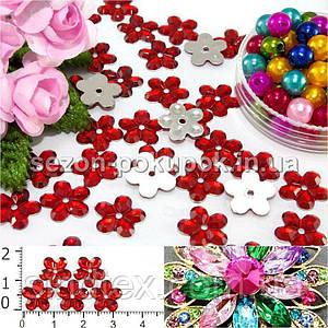 """( 100шт) Серединки стразы  """"цветочек средний"""", d=10мм Цвет - Красный"""