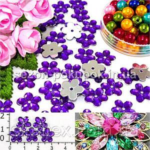 """( 100шт) Серединки стразы  """"цветочек средний"""", d=10мм Цвет - Фиолетовый"""