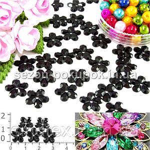 """( 100шт) Серединки стразы  """"цветочек средний"""", d=10мм Цвет - Черный"""