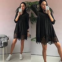 b41b160b57e Платье туника oversize черного цвета с кружевом