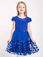 Стильное платье с пышной юбкой с цветочками.116-134