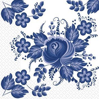 Серветки 24х24 3шар. 20шт Марго квіти сині Гжель Укр.