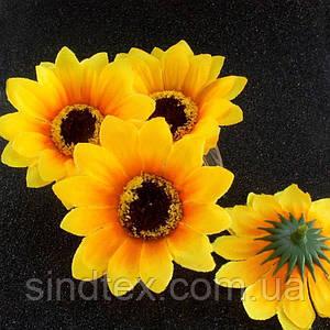 """(10шт) Головы искусственных цветов """"Подсолнух средний"""" d=7,5см (материал-ткань)"""