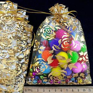 (10шт) Мешочки из органзы с рисунком (16х11см) Цена за 10 шт Цвет - Золото