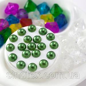 (20 грамм)  Полубусины 6мм  (прим. 350-400шт) Цвет - темно зеленый
