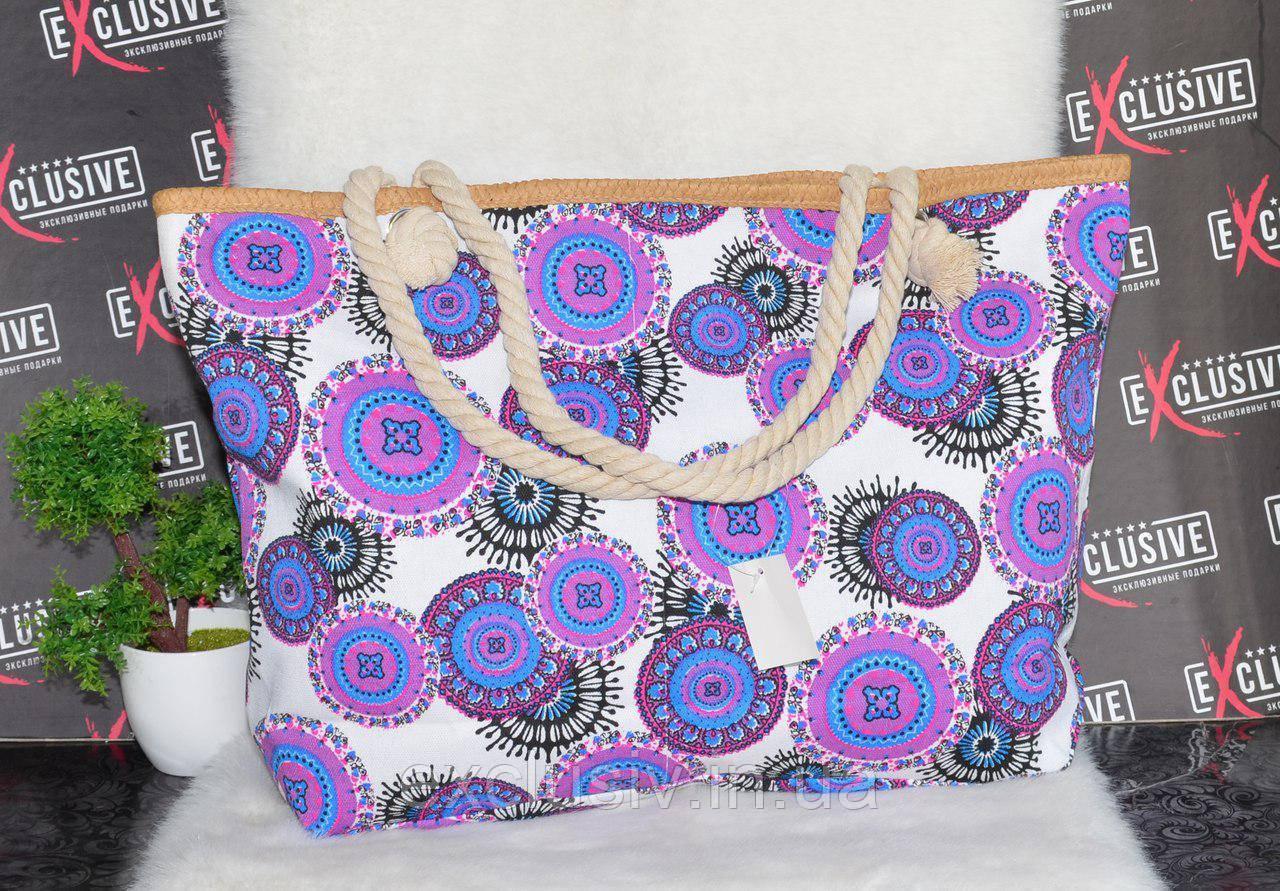 Пляжная сумочка с канатными ручками с узором., фото 1