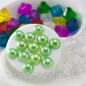 (20грамм) Полубусины 8мм (прим 145-175шт)  Цвет - светло зеленый