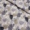 Тканина з чорними, сірими і бежевими листям, ширина 145 см