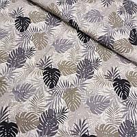 Тканина з чорними, сірими і бежевими листям, ширина 145 см, фото 1