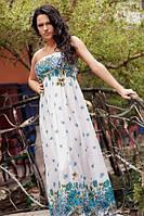 Платье Штапельно в пол синие цветы