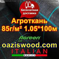 Агротканина 1,05*100м 85г/м. кв. плетена, чорна, щільна. Мульчування грунту на 7-10 років, фото 1