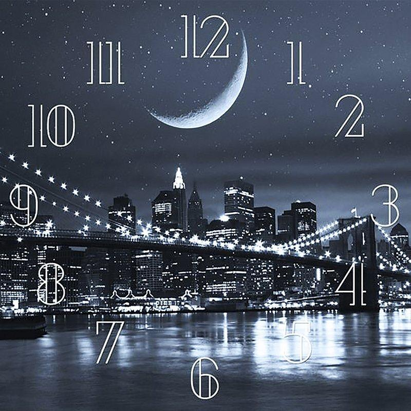 "Алмазная вышивка 40х40см - набор ""Часы – Ночной город"""