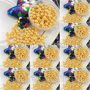 (500 грамм) ОПТ Жемчуг бусины пластик Ø4мм (прим. 14000 шт) Цвет - Бежевый