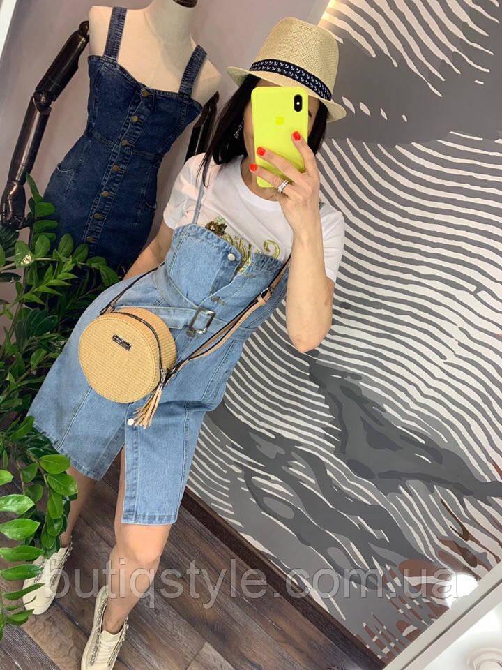 Жіночий джинсовий блакитний сарафан на гудзиках з поясом літо 2019