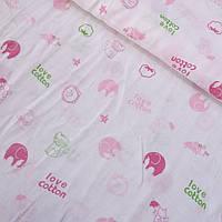Муслин с розовыми слониками и надписями на белом фоне, ширина 155 см, фото 1