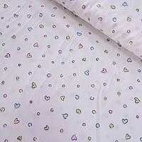 Сатин с разноцветными сердечками и кружочками на белом фоне, ширина 160 см, фото 1