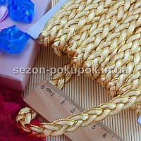 """(≈15м) Тесьма  """"Косичка беж+золото""""  ширина  11мм Цена за упаковку"""