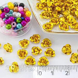 (≈35-40 шт) Розочки металл d=7мм Серединки,кабошоны Цвет - Золото