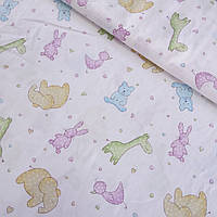 Сатин с разноцветными зверушками, сердечками и кружочками на белом фоне, ширина 160 см, фото 1
