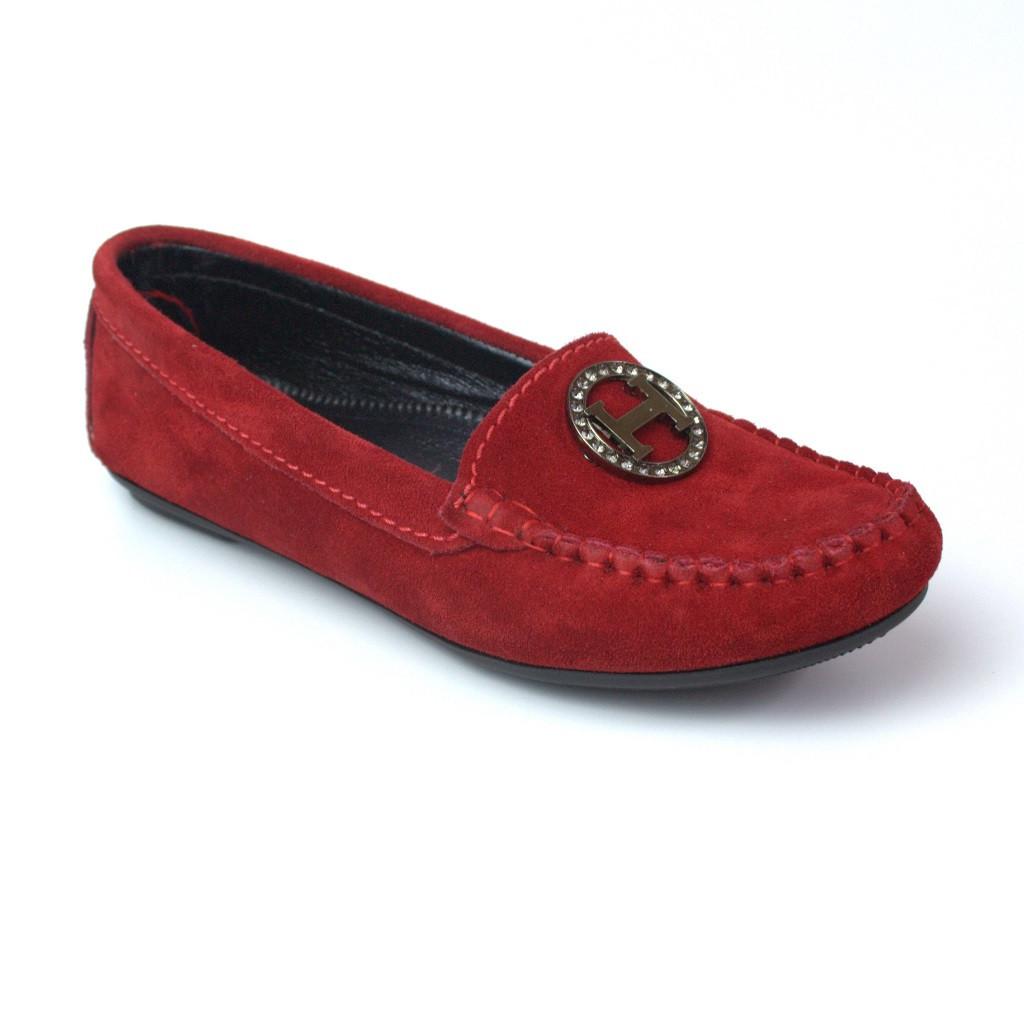 Червоні замшеві мокасини жіноче взуття великих розмірів New Ornella Red BS by Rosso Avangard колір Сольферіно