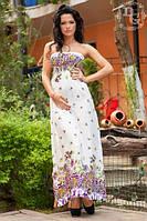 Платье Штапельно в пол сиренивые цветы