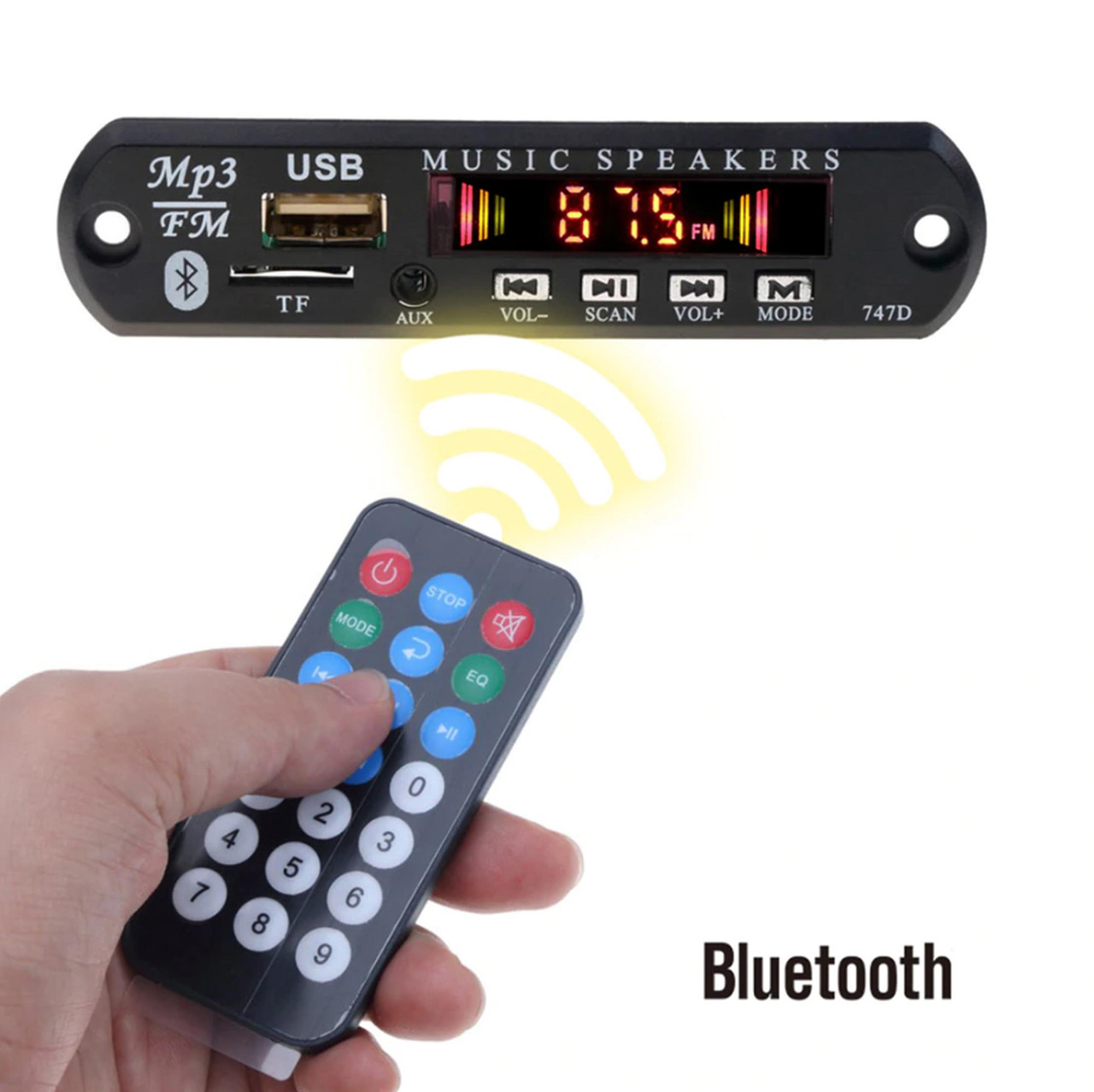 MP3 Bluetooth модуль с FM, USB, microSD, DC 5-12В (встраиваемый)
