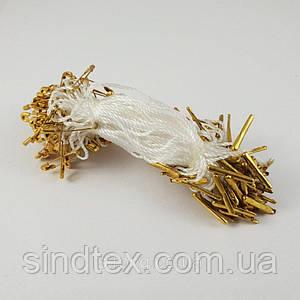 Биркодержатель с булавкой 1000 шт. Белый с золотой булавкой