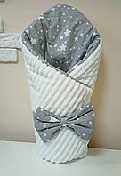 Двухсторонний Конверт одеяло 2 в 1 на выписку для новорожденного в роддом польский хлопок