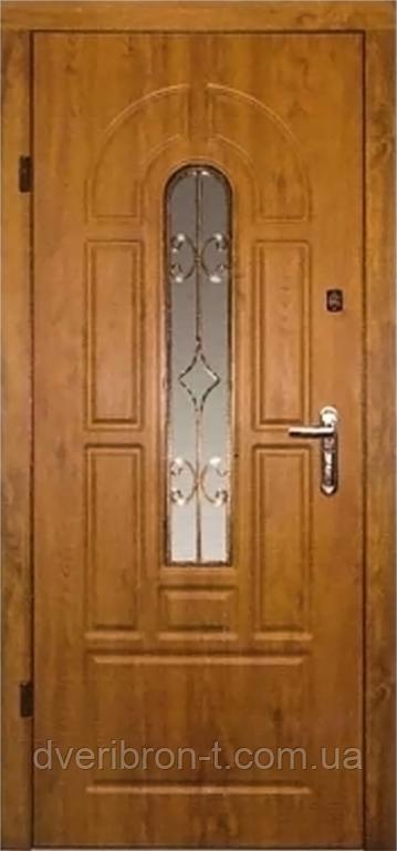 Входная дверь  860х2050 Эконом Арка с притвором + стеклопакет с ковкой, дуб темный