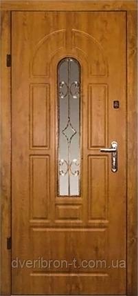 Входная дверь  860х2050 Эконом Арка с притвором + стеклопакет с ковкой, дуб темный, фото 2