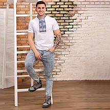 "Мужская футболка вышиванка на белом трикотаже ""Солнышко"", фото 2"