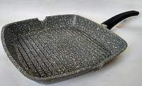 Ребристая квадратная сковорода гриль Bohmann BH 1002-24 с мраморным покрытием с крышкой
