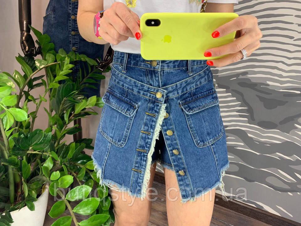 Женские джинсовые юбка-шорты на пуговицах с рваными краями