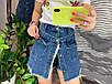 Женские джинсовые юбка-шорты на пуговицах с рваными краями, фото 3