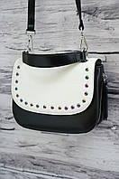 Клатч с цветными заклепками из матовой кожи 301 black/white