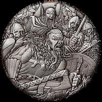 Вікінги ~ Срібна монета з високим рельєфом та NFC чіпом для перегляду панорамної 3D віртуальної реальності, фото 1