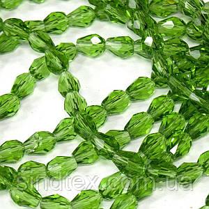 Бусины хрусталь КАПЛЯ Малая 7х5мм пачка - примерно 70 шт, цвет - зеленый прозрачный