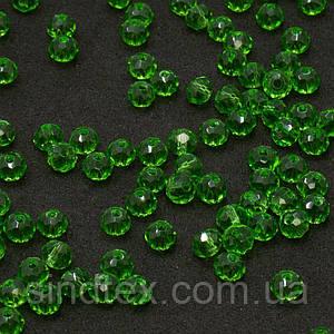 Бусины хрустальные (Рондель)  4х3мм пачка - 135-145 шт, цвет - зеленый прозрачный