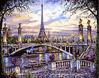 """Алмазная вышивка 50х40см на подрамнике (в раме) - набор """"Воспоминания о Париже"""""""
