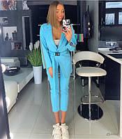 Голубой женский костюм с лампасами, фото 1